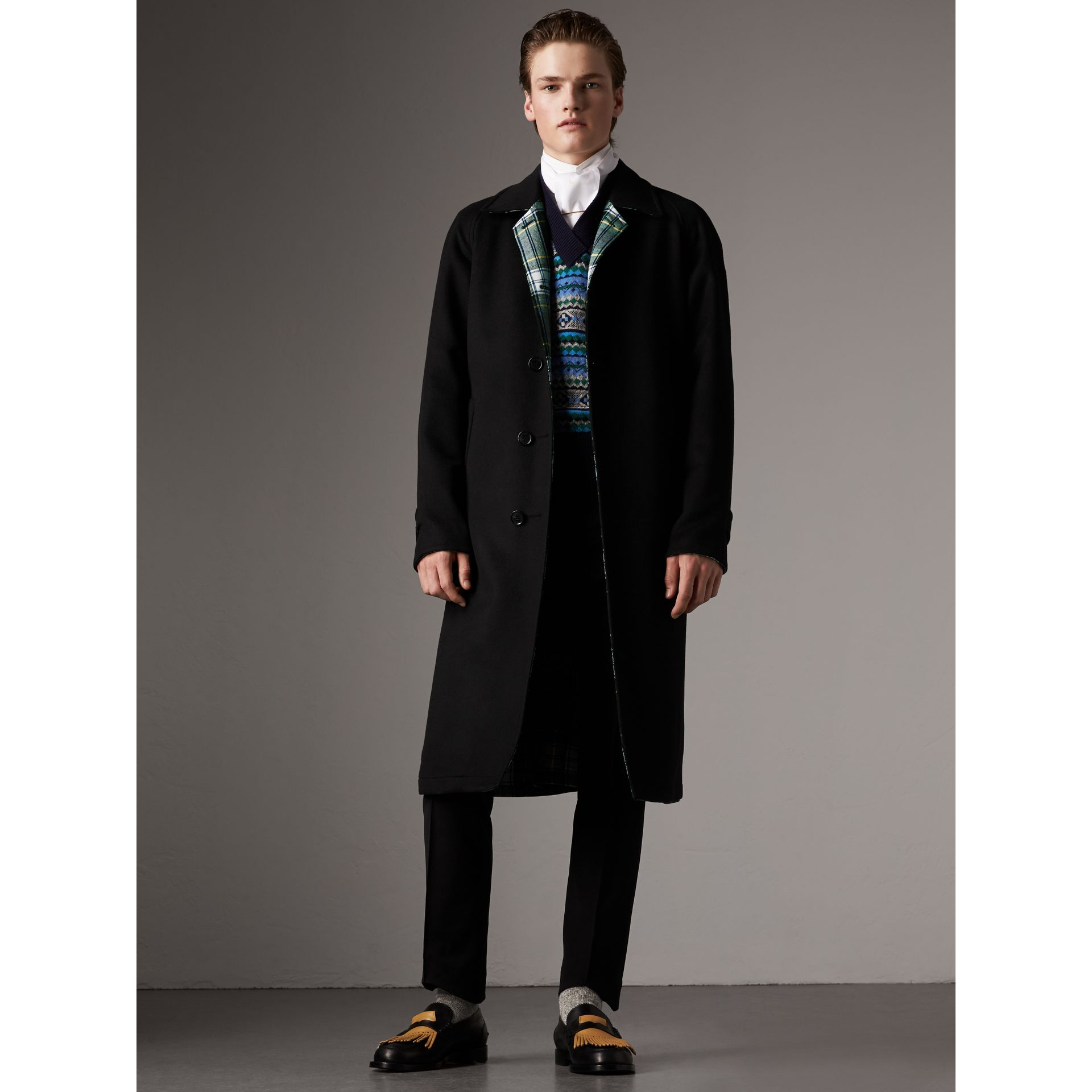 Reversible Cashmere and Tartan Wool Car Coat in Black - Men | Burberry Canada - gallery image 1