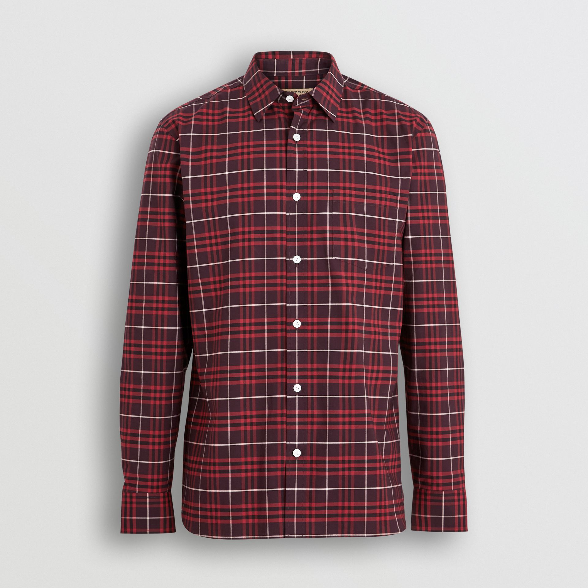 Check Stretch Cotton Shirt in Maroon - Men | Burberry Australia - gallery image 3