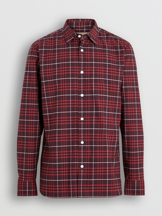 Check Stretch Cotton Shirt in Maroon