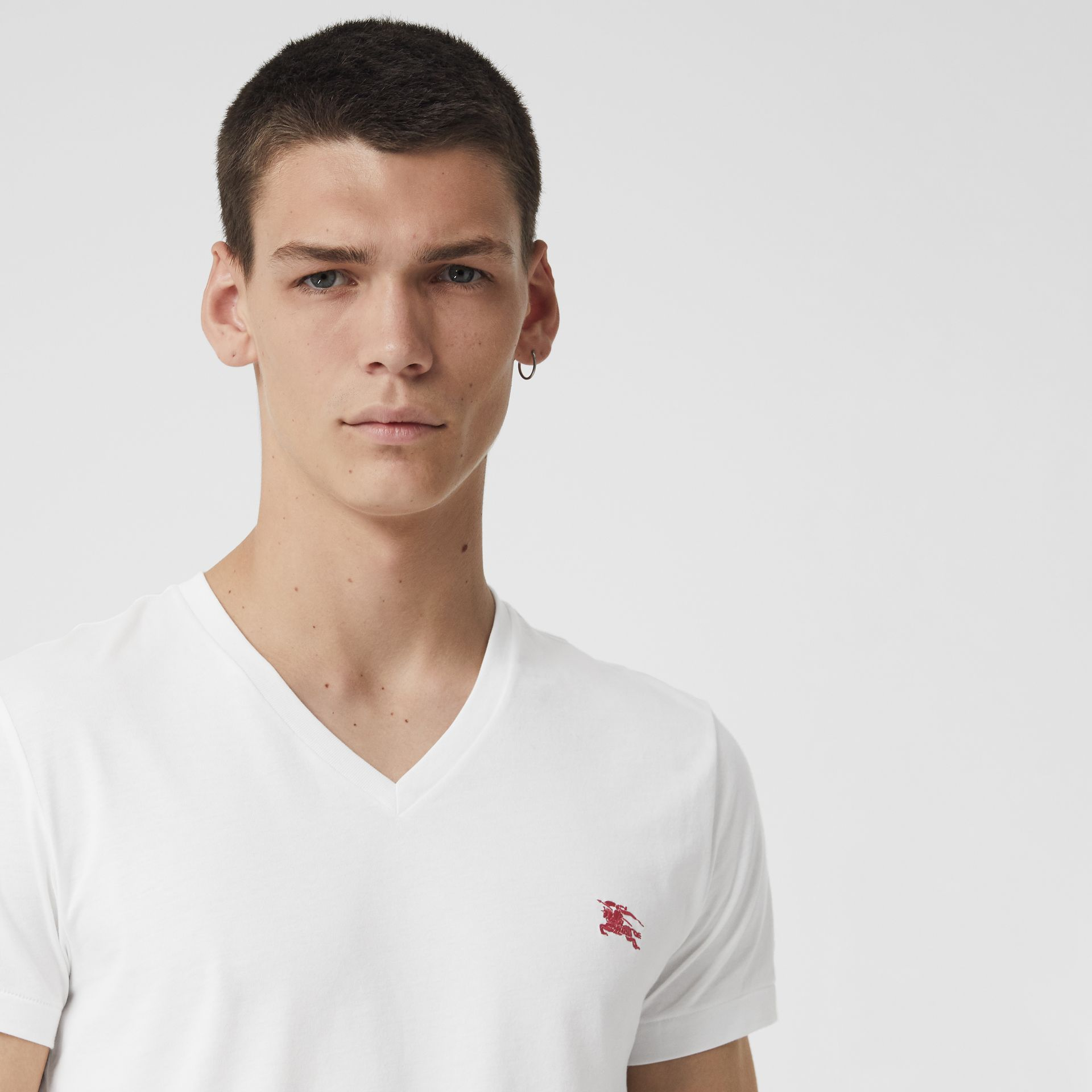 Cotton Jersey V-neck T-shirt in White - Men | Burberry - gallery image 1