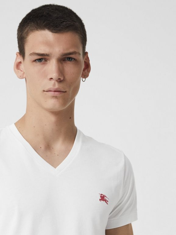 Cotton Jersey V-neck T-shirt in White - Men | Burberry - cell image 1
