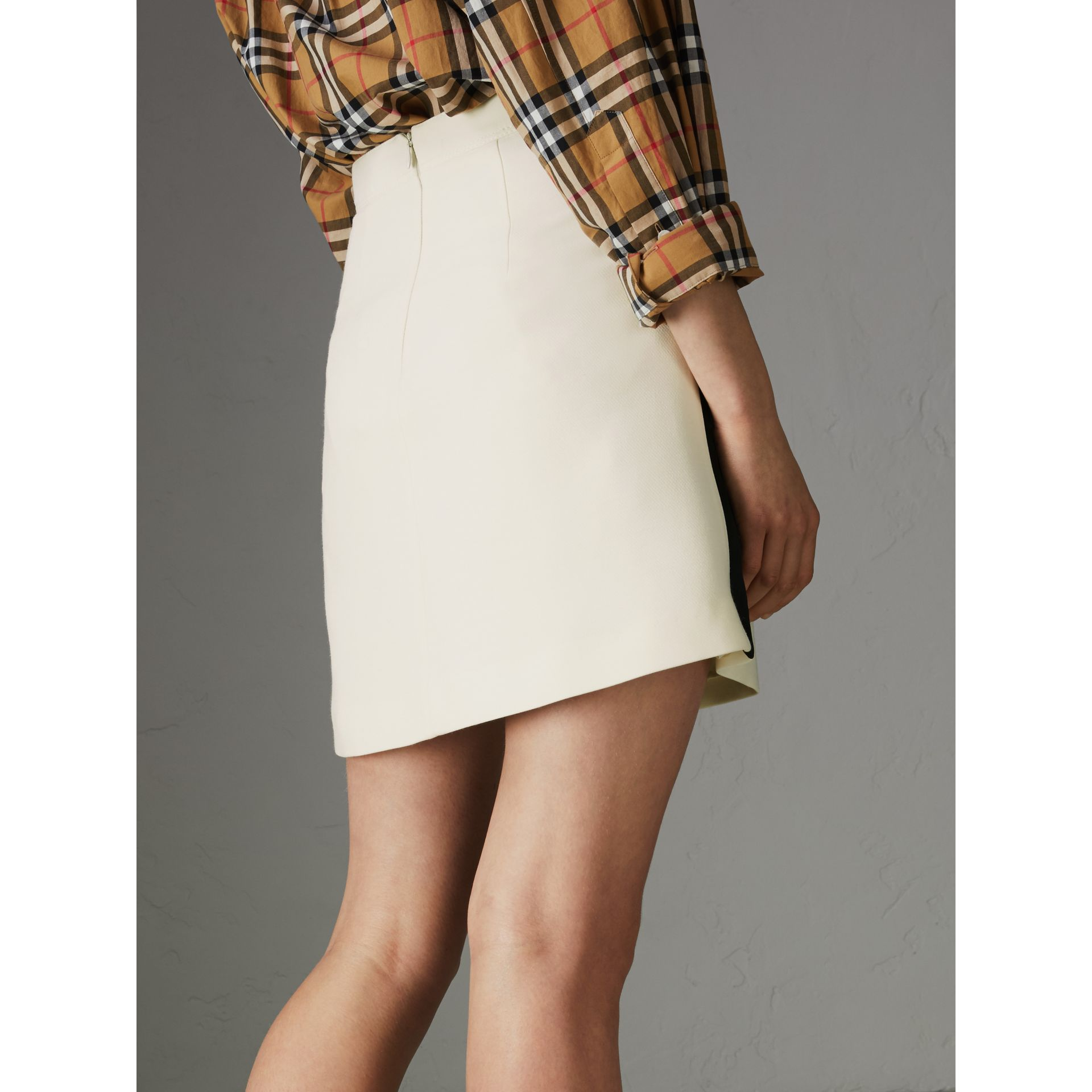 Sport Stripe Wool Silk Skirt in Off White - Women | Burberry - gallery image 2