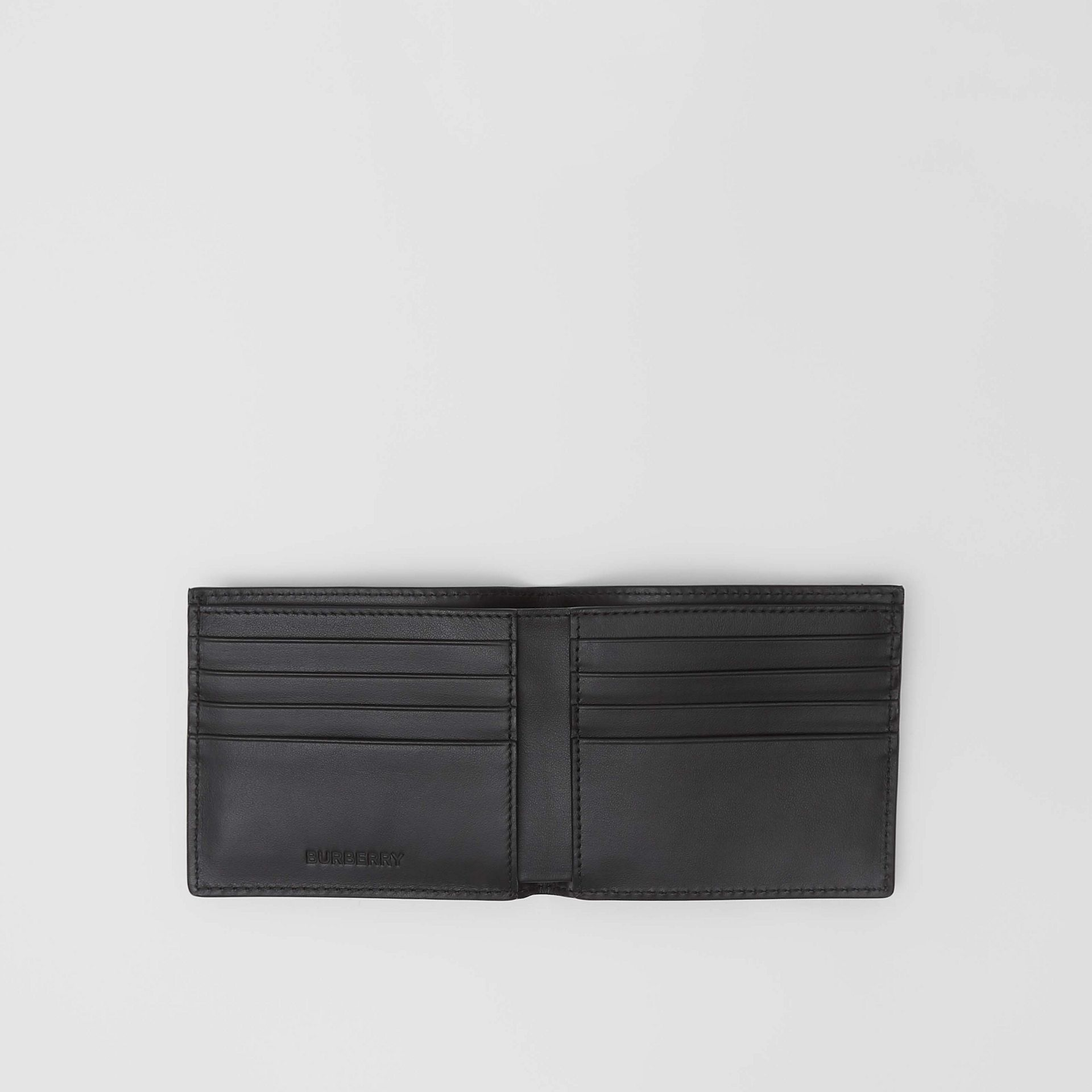 Horseferry Print Leather International Bifold Wallet in Black - Men | Burberry Australia - gallery image 2
