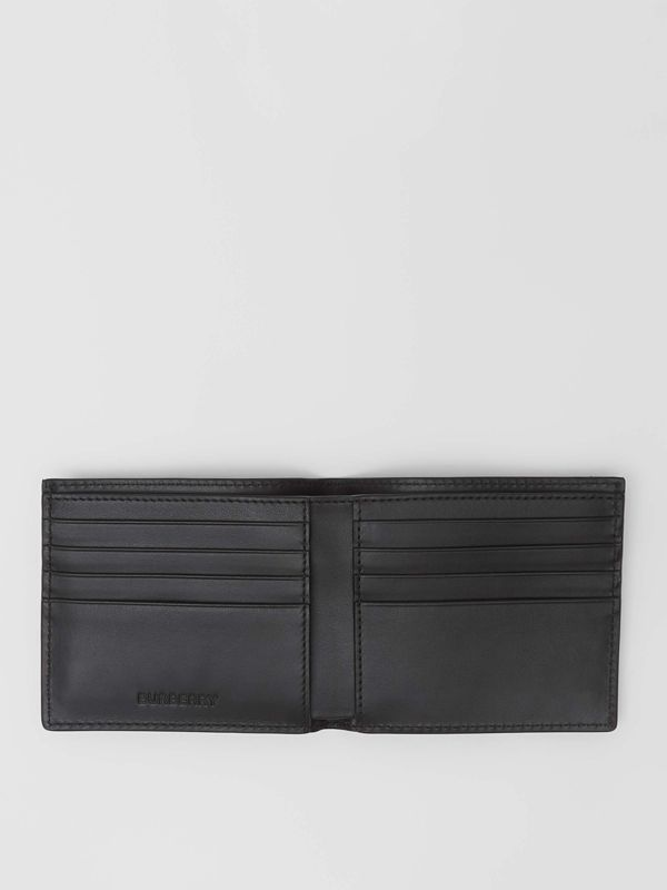 Horseferry Print Leather International Bifold Wallet in Black - Men | Burberry - cell image 2