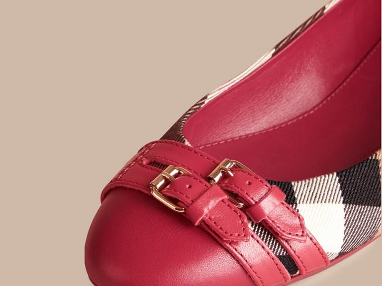 Vermelho russet Ballerinas com fivela estilo equestre e padrão House check - cell image 1