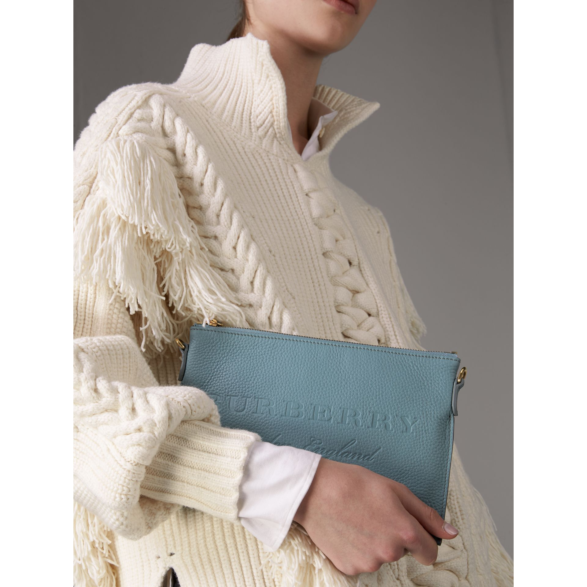 Embossed Leather Clutch Bag in Dusty Teal Blue - Women | Burberry - gallery image 3
