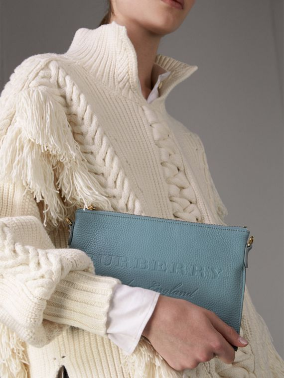 Embossed Leather Clutch Bag in Dusty Teal Blue - Women | Burberry United States - cell image 3