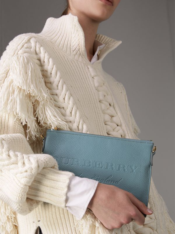 Embossed Leather Clutch Bag in Dusty Teal Blue - Women | Burberry - cell image 3