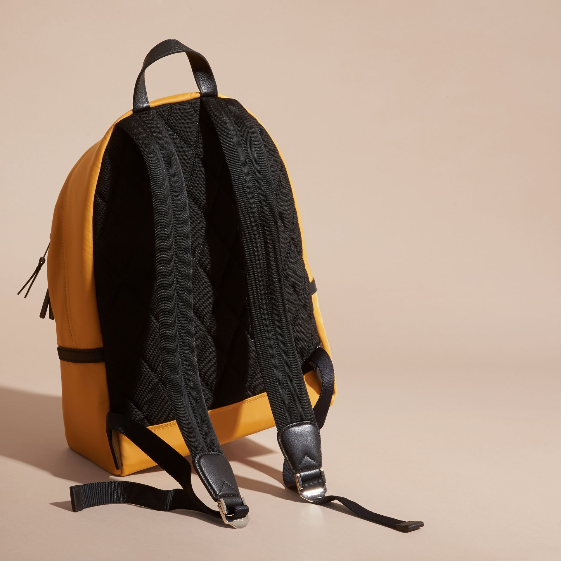 Amber yellow Leather Trim Nylon Backpack Amber Yellow - gallery image 4
