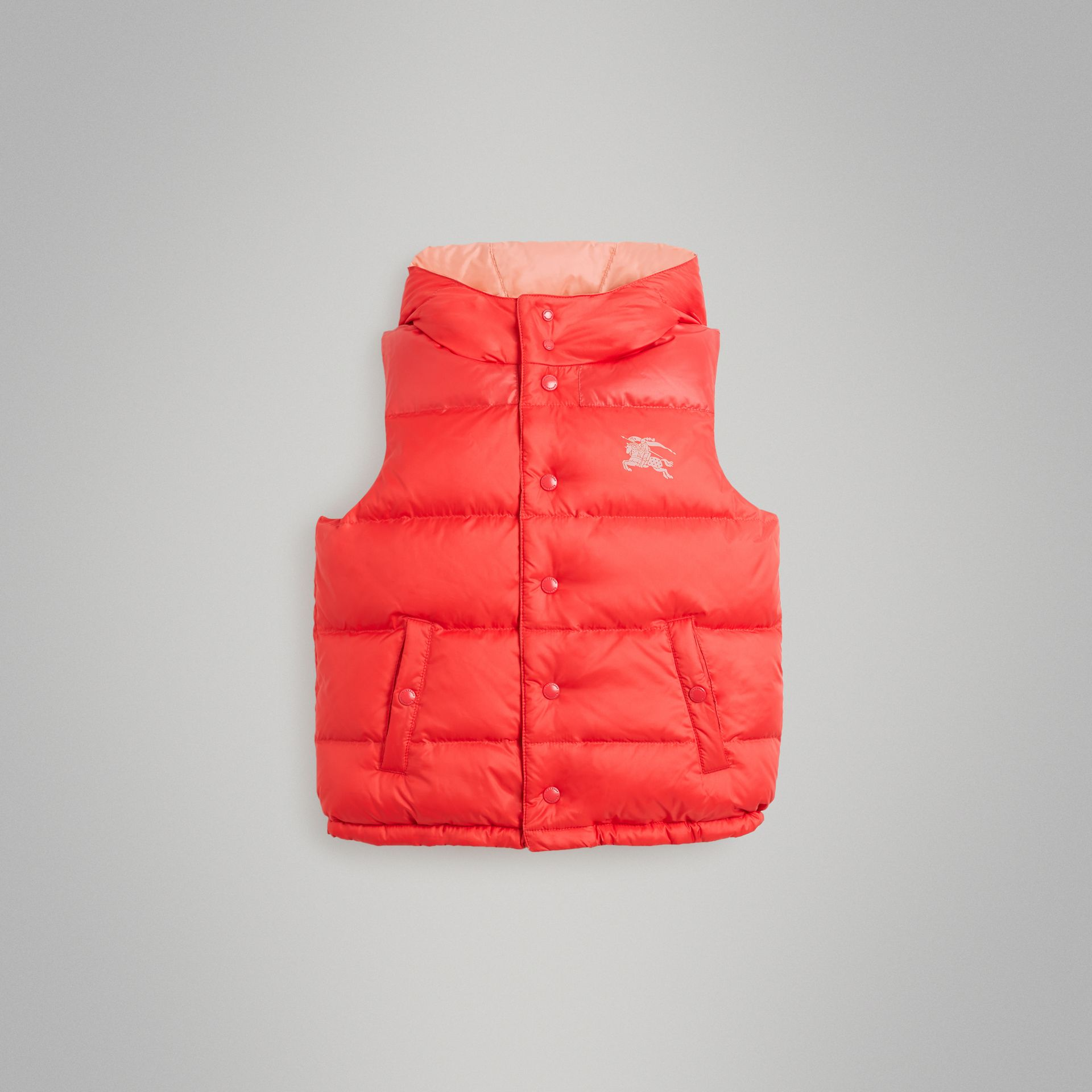 Reversible Showerproof Down-filled Hooded Gilet in Coral Pink | Burberry Australia - gallery image 0