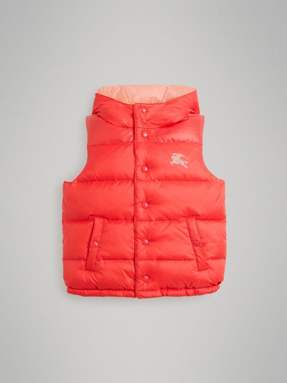 Reversible Showerproof Down-filled Hooded Gilet in Coral Pink