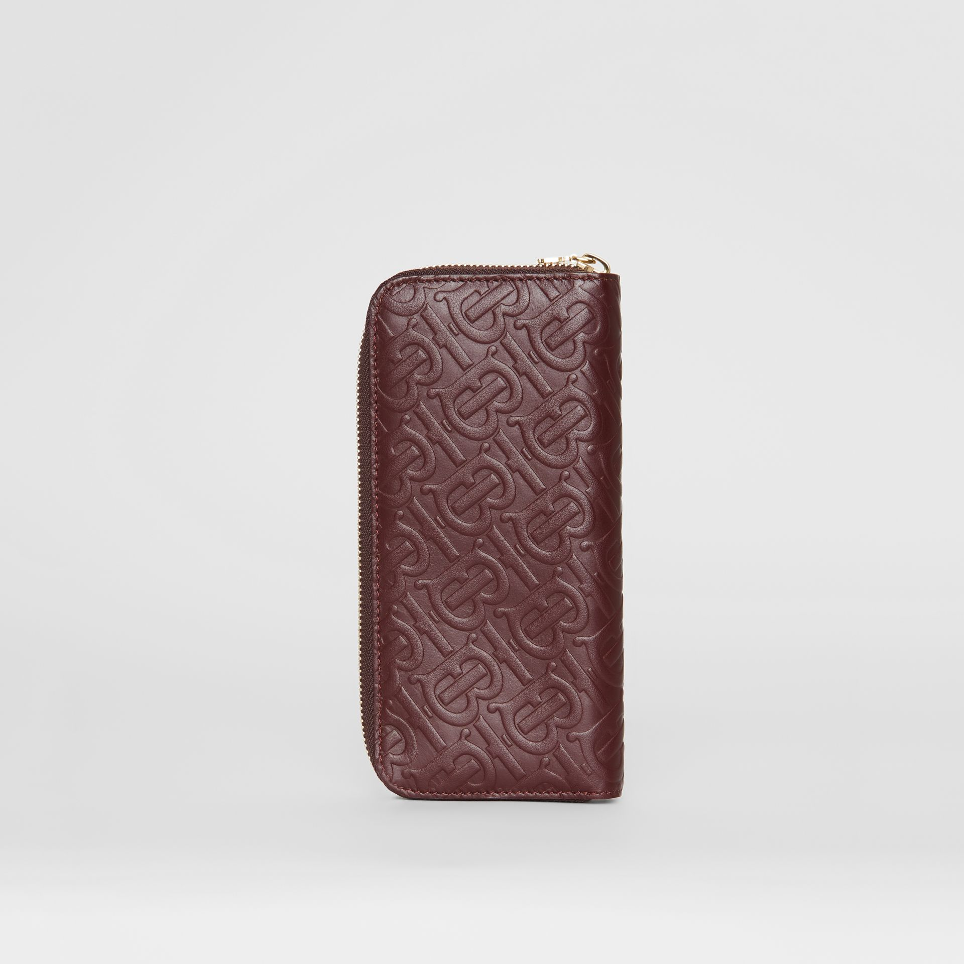 Monogram Leather Ziparound Wallet in Oxblood - Women | Burberry - gallery image 4