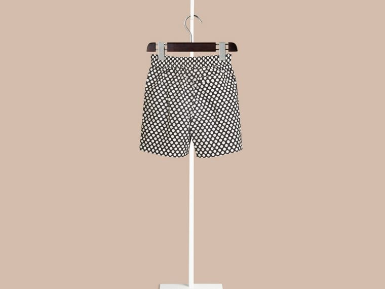 Navy Polka Dot Print Swim Shorts Navy - cell image 1