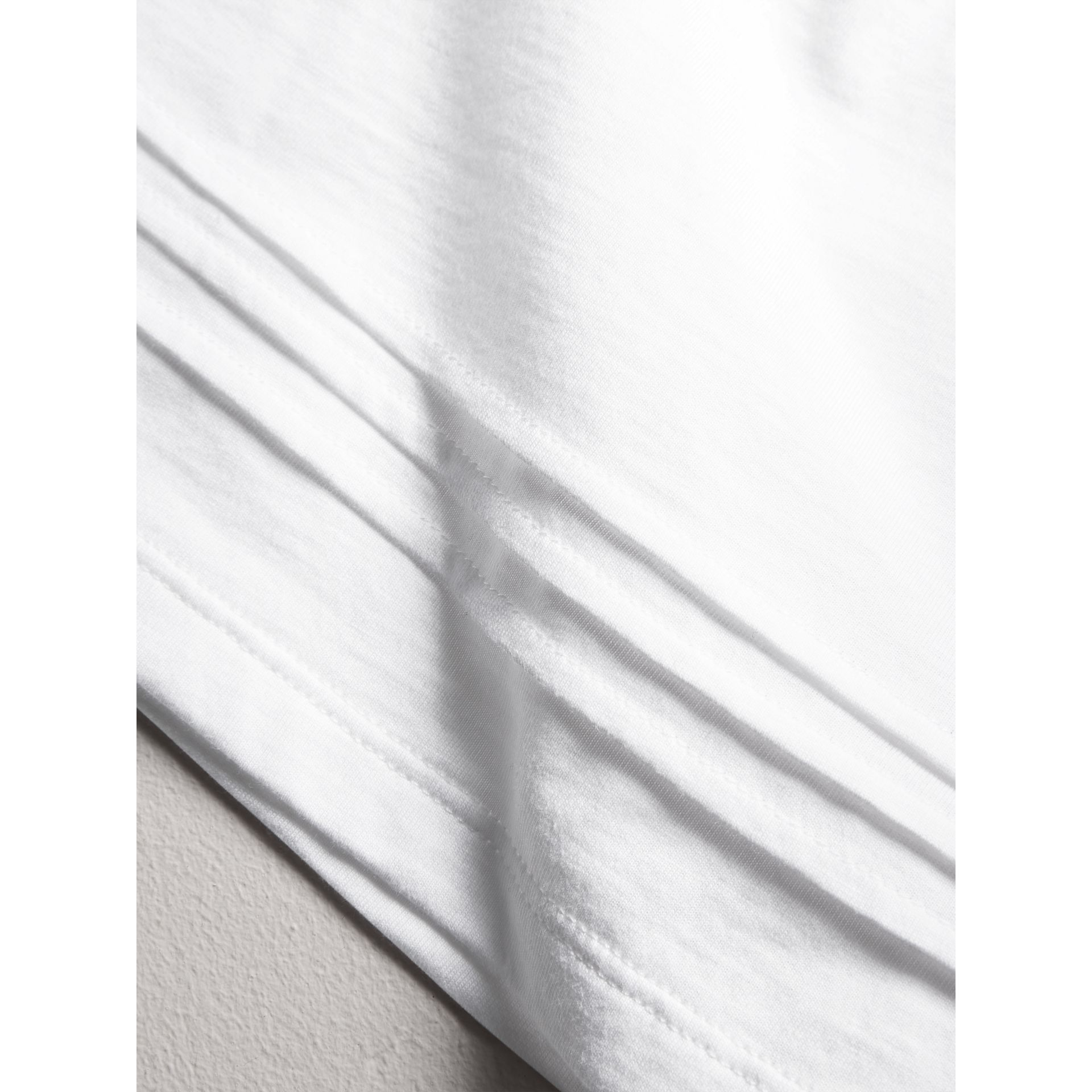 Pleat and Check Detail Cotton T-shirt in White | Burberry - gallery image 1