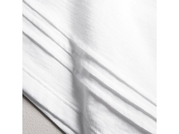Pleat and Check Detail Cotton T-shirt in White | Burberry - cell image 1