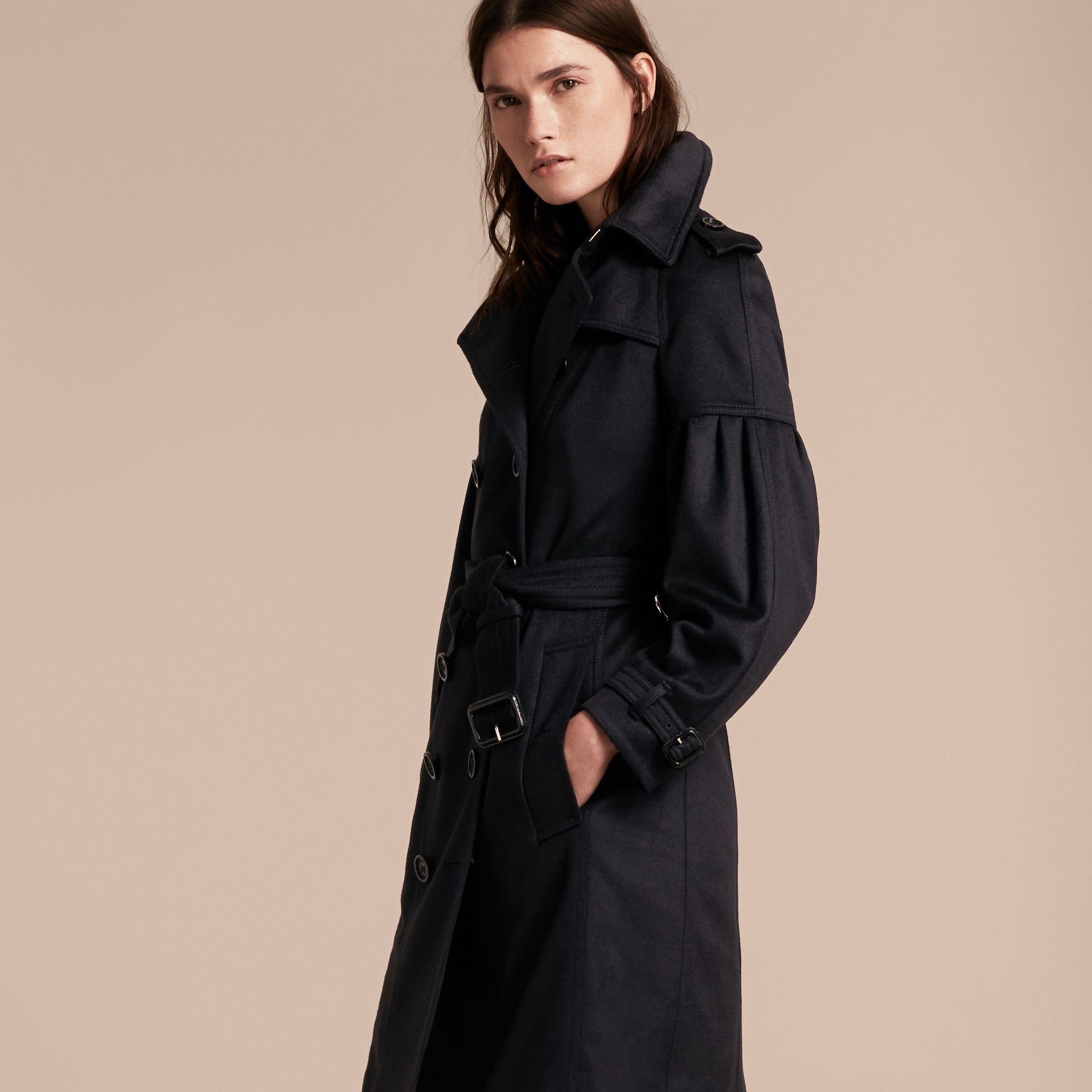 Navy Cashmere Trench Coat with Puff Sleeves Navy - gallery image 7