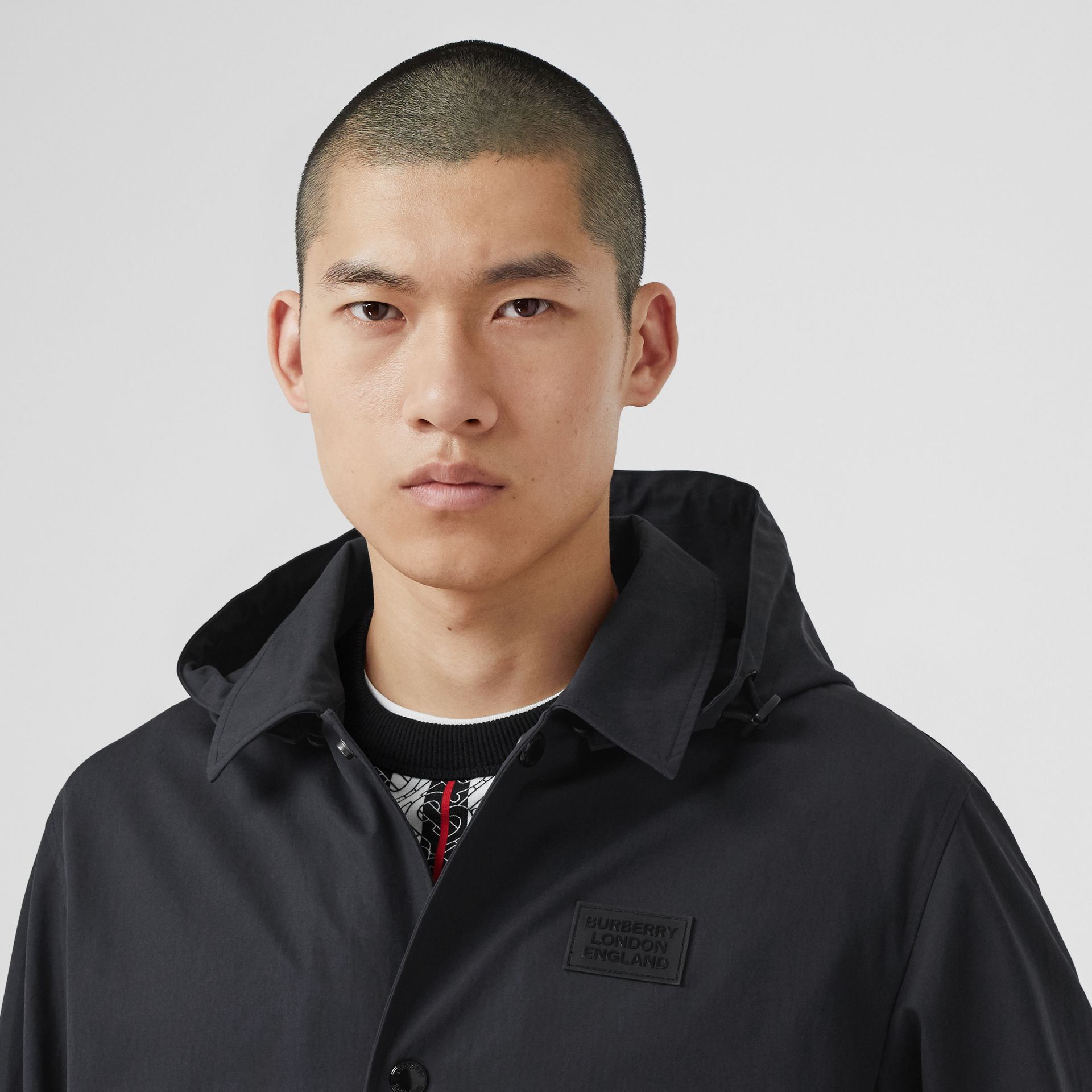 Detachable Hood Logo Appliqué Lightweight Jacket in Navy - Men | Burberry - gallery image 4