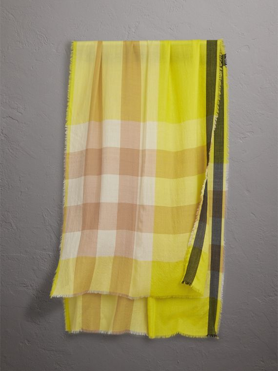 The Lightweight Check Cashmere Scarf in Bright Lemon