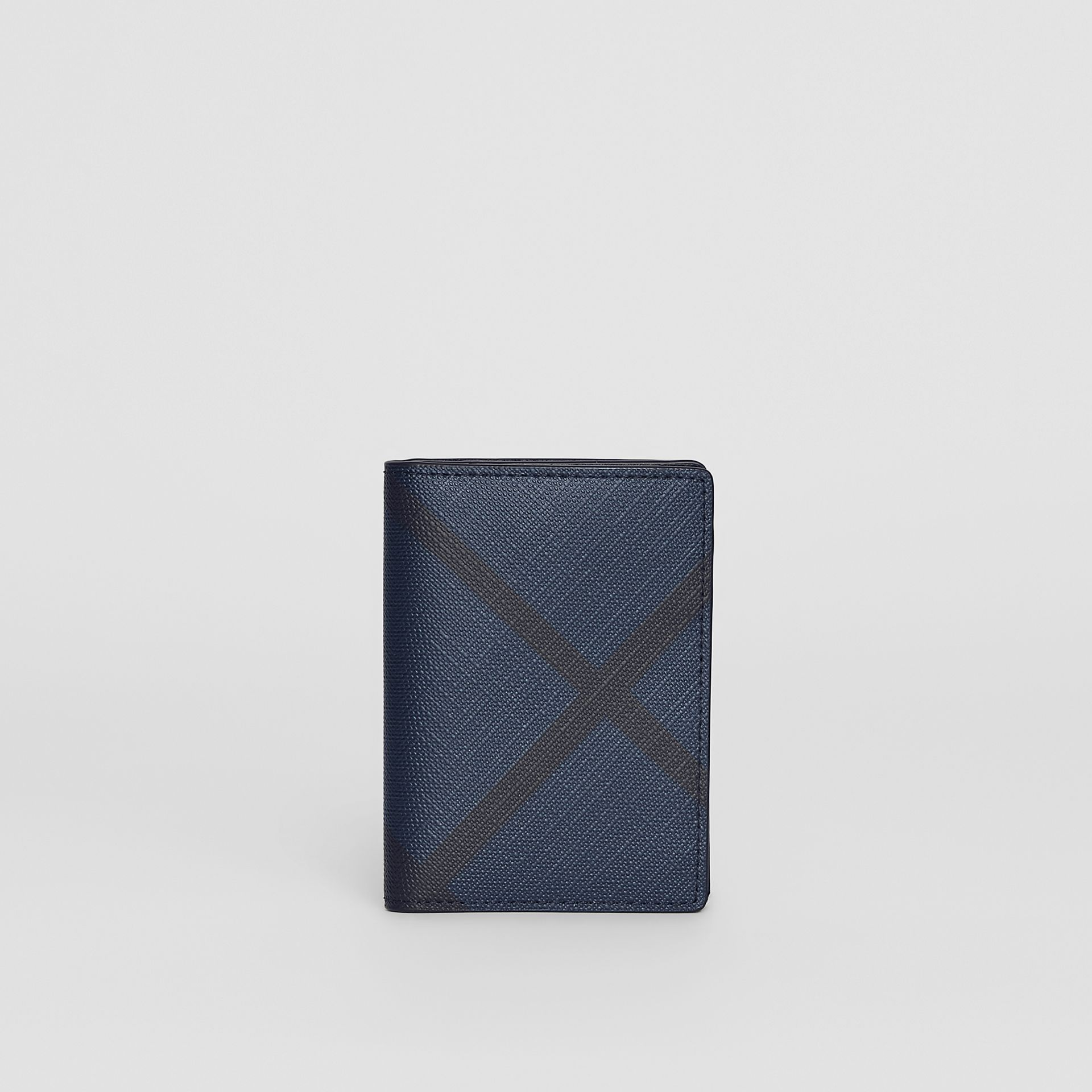 London Check and Leather Folding Card Case in Navy/black - Men | Burberry Canada - gallery image 5