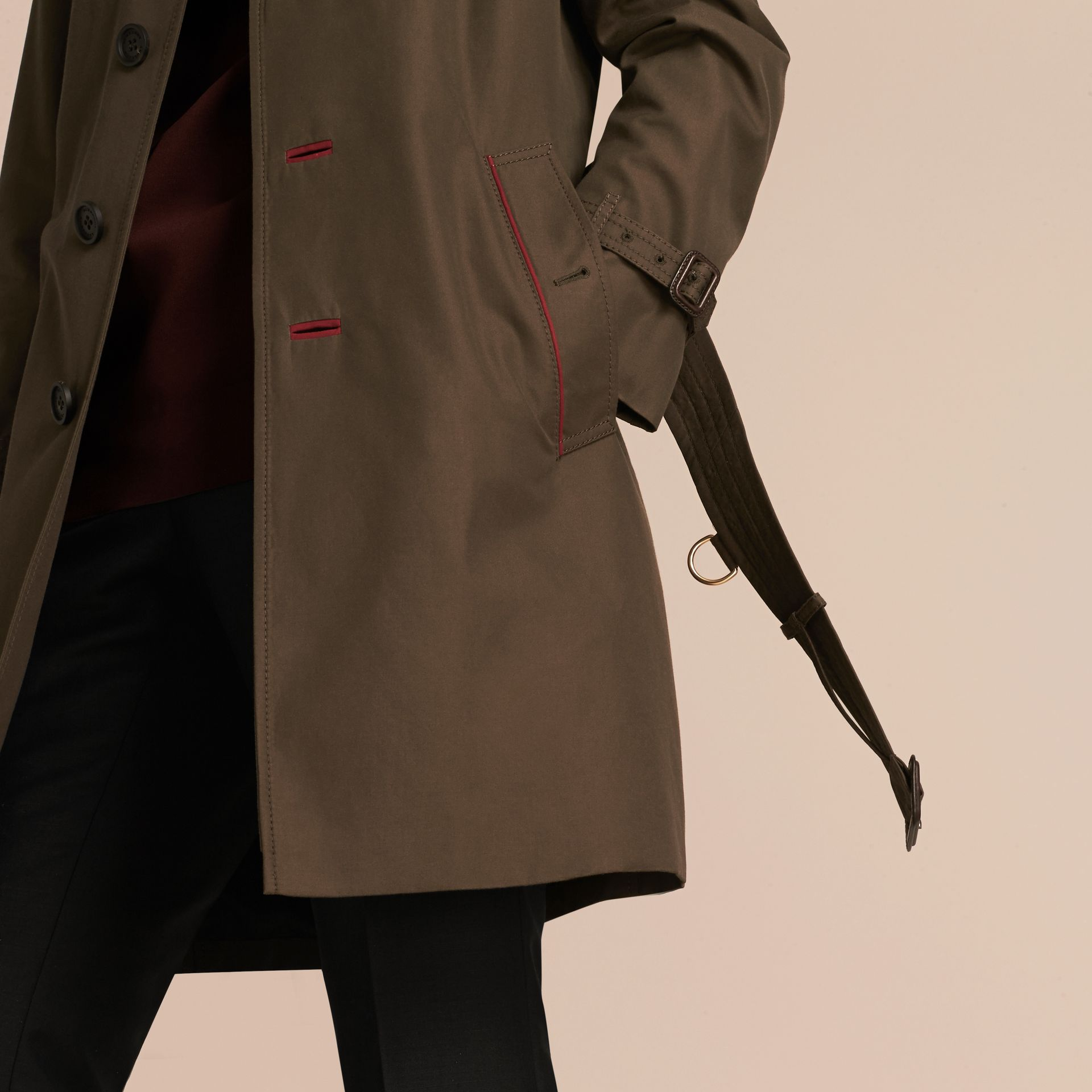 Dark khaki green Military Detail Cotton Trench Coat - gallery image 5