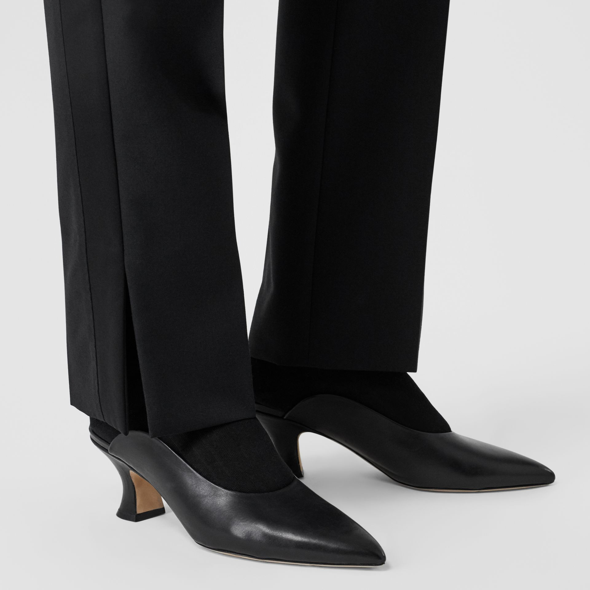 Satin Stripe Detail Wool Tailored Trousers in Black - Women | Burberry United Kingdom - gallery image 1