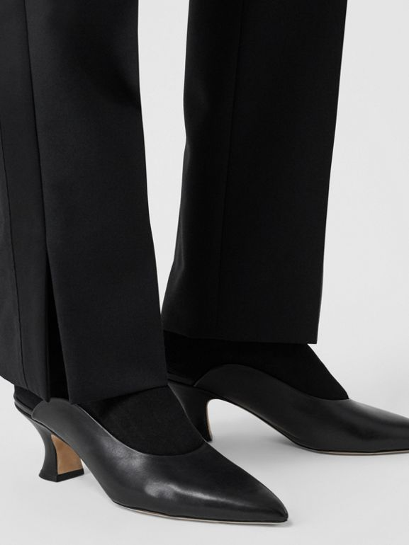 Satin Stripe Detail Wool Tailored Trousers in Black - Women | Burberry United Kingdom - cell image 1