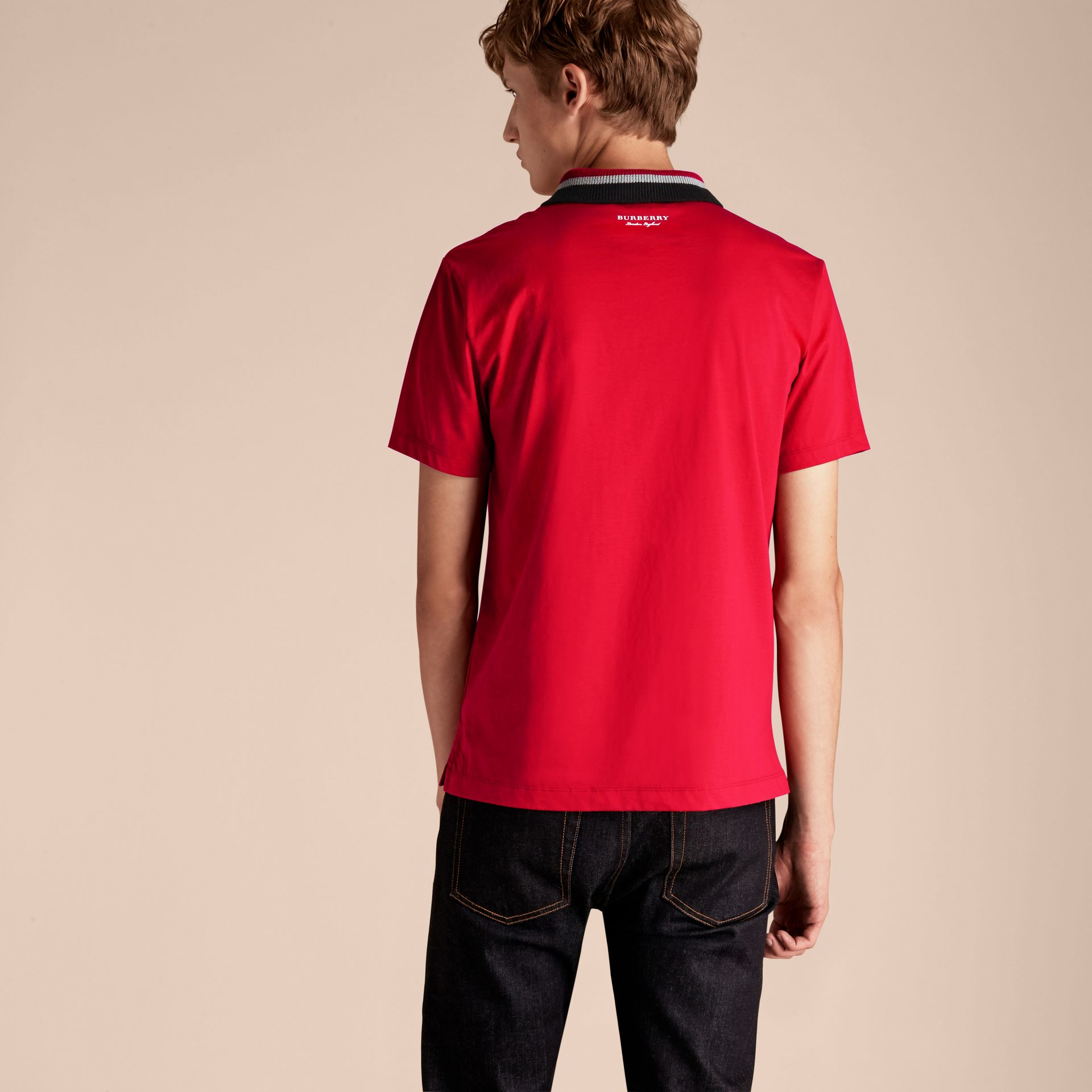 Cotton Polo Shirt with Knitted Collar Military Red - gallery image 3