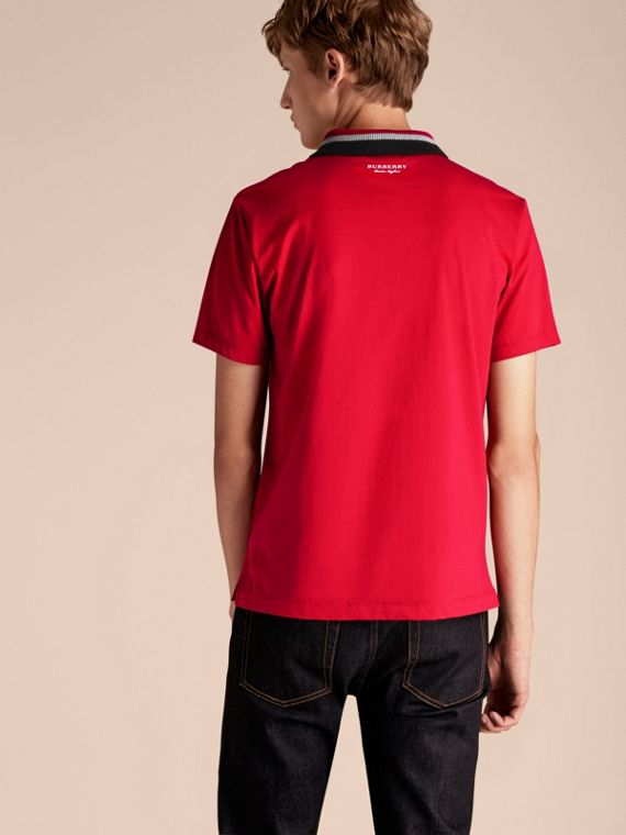 Cotton Polo Shirt with Knitted Collar Military Red - cell image 2