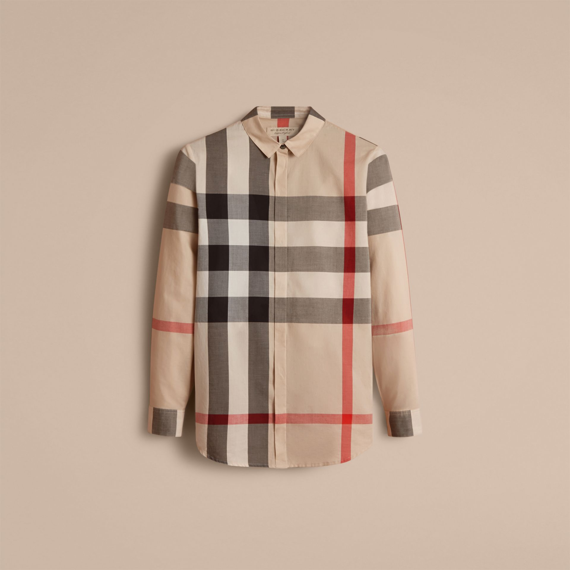Check Cotton Shirt in New Classic - Women | Burberry - gallery image 4
