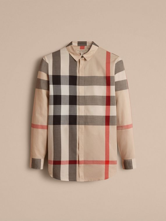 Check Cotton Shirt in New Classic - Women | Burberry Singapore - cell image 3