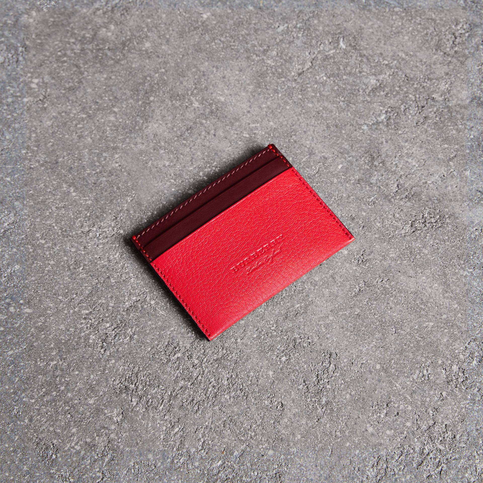 Two-tone Leather Card Case in Bright Red - Women | Burberry - gallery image 0