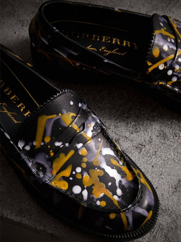 Splash Print Leather Penny Loafers in Black - Women | Burberry - cell image 1