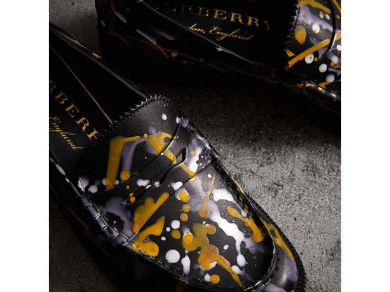 Splash Print Leather Penny Loafers in Black - Women | Burberry Canada - cell image 1