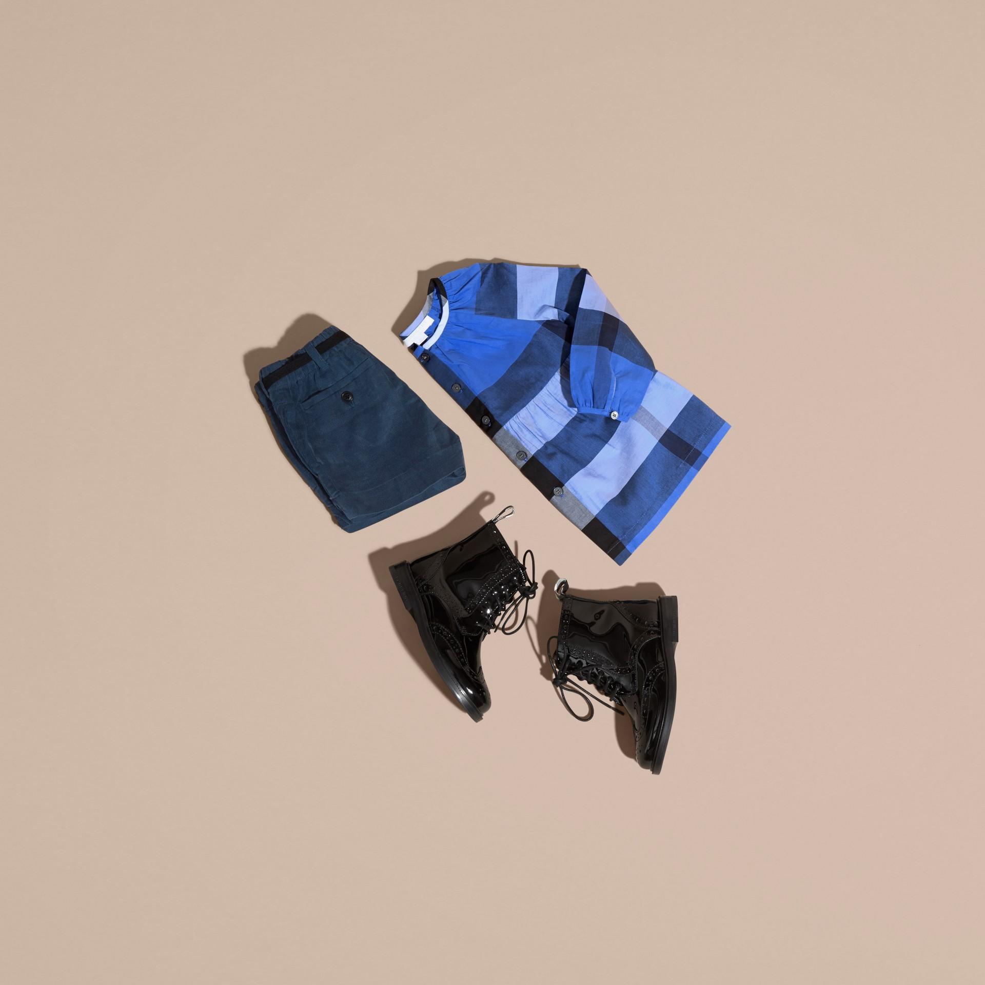Bright hydrangea blue Puff Sleeve Check Cotton Blouse Bright Hydrangea Blue - gallery image 5