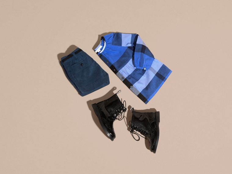 Bright hydrangea blue Puff Sleeve Check Cotton Blouse Bright Hydrangea Blue - cell image 4