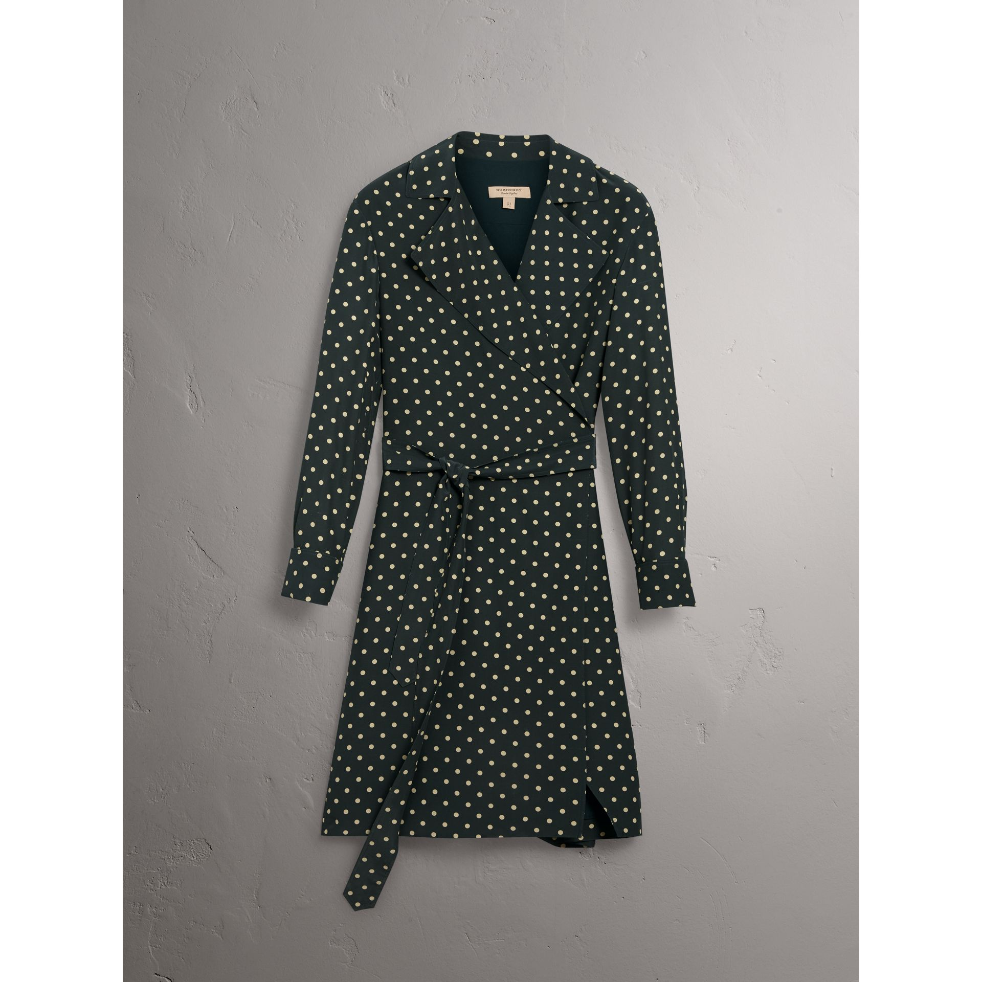 Polka-dot Silk Wrap Dress in Racing Green - Women | Burberry United Kingdom - gallery image 3