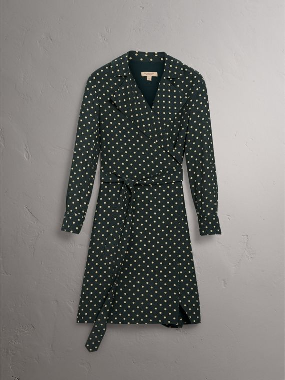Polka-dot Silk Wrap Dress in Racing Green - Women | Burberry Hong Kong - cell image 3