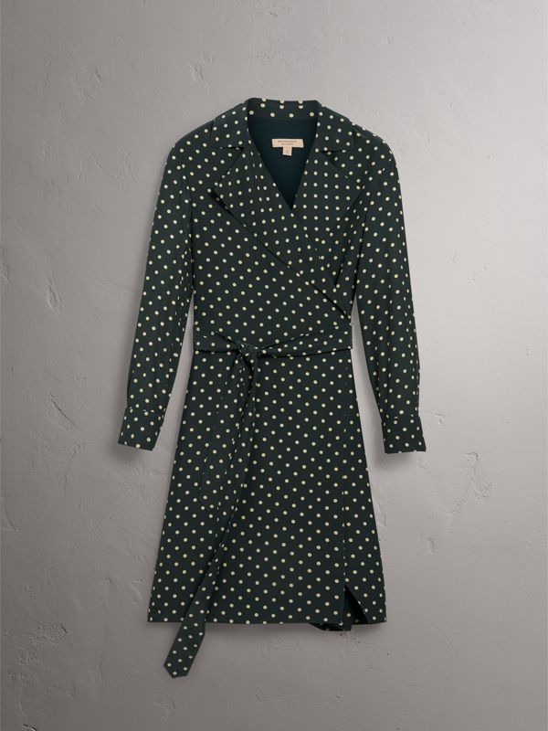 Polka-dot Silk Wrap Dress in Racing Green - Women | Burberry - cell image 3