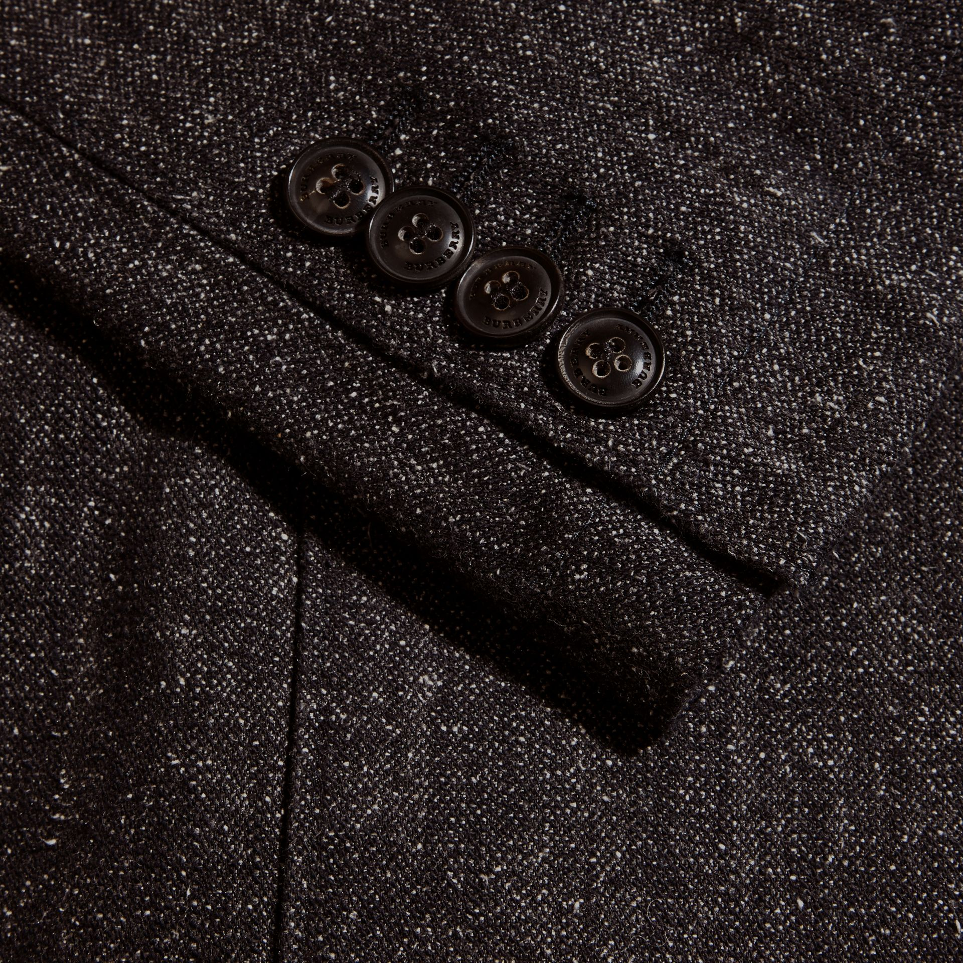 Charcoal blue Cotton Silk Tweed Tailored Jacket - gallery image 2