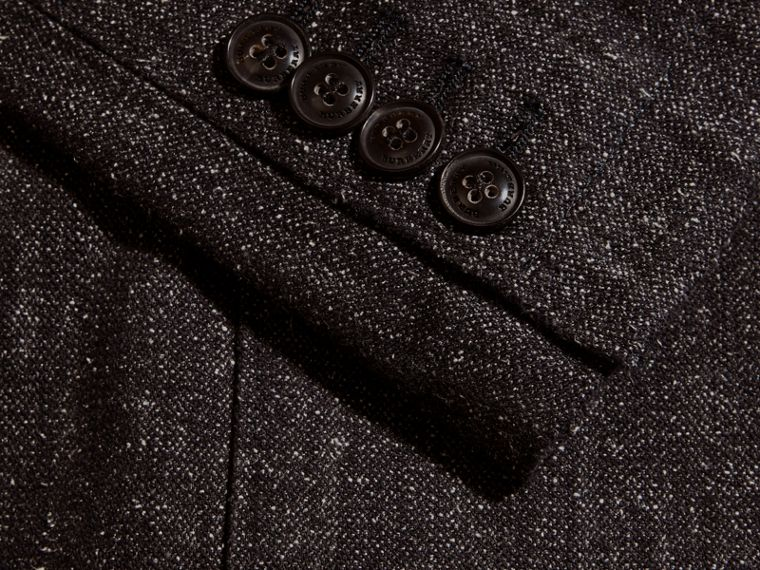 Charcoal blue Cotton Silk Tweed Tailored Jacket - cell image 1