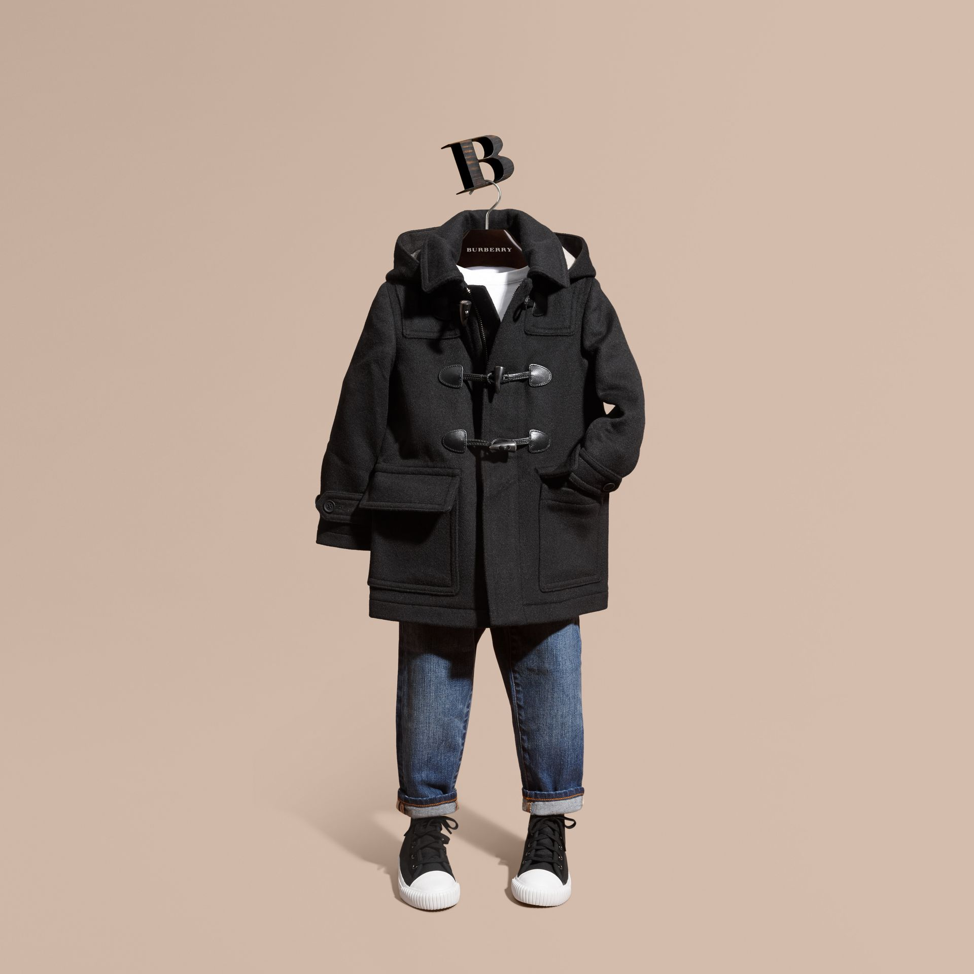 Wool Duffle Coat with Check-lined Hood Black - gallery image 1