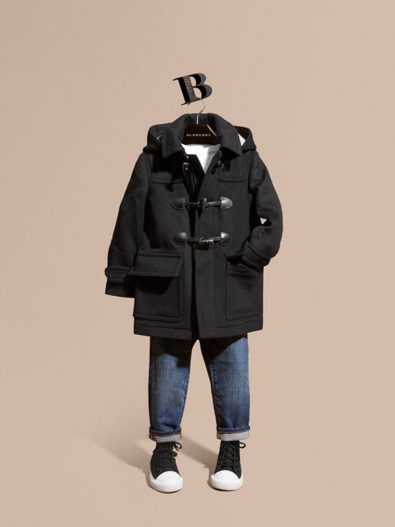 Wool Duffle Coat with Check-lined Hood Black