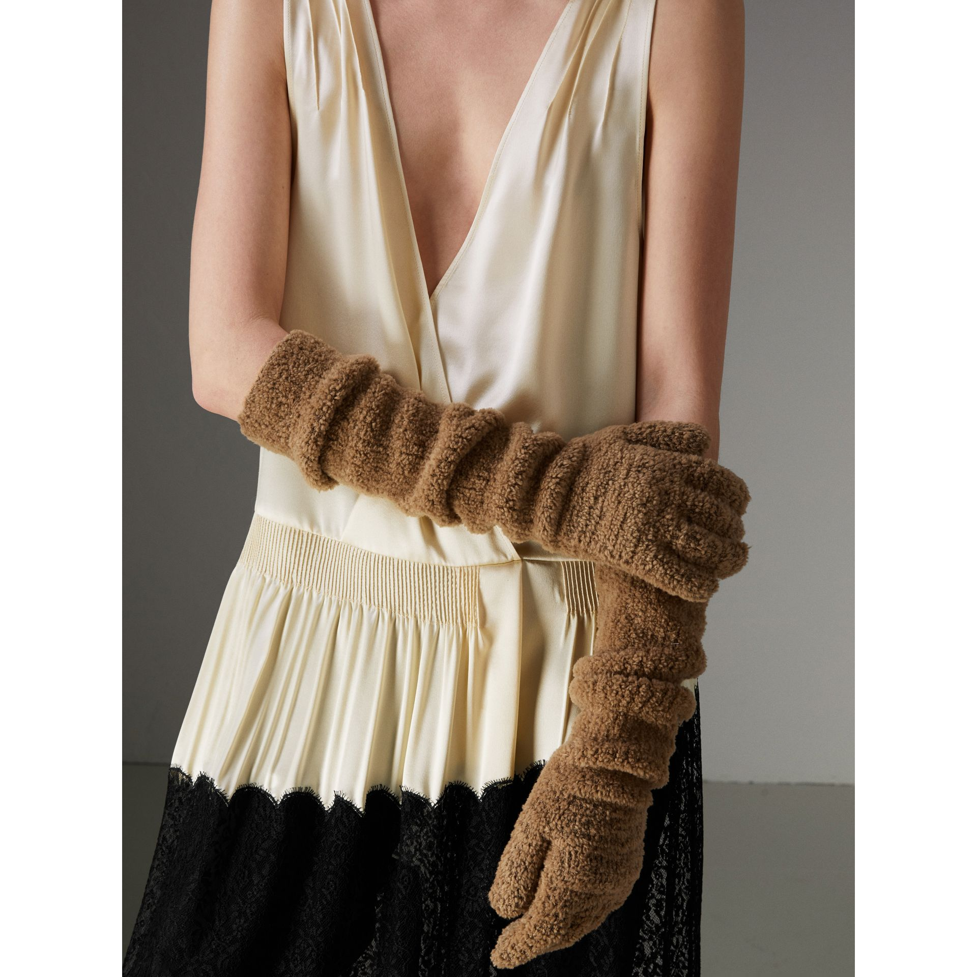 Chenille Longline Gloves in Camel - Women | Burberry United Kingdom - gallery image 2
