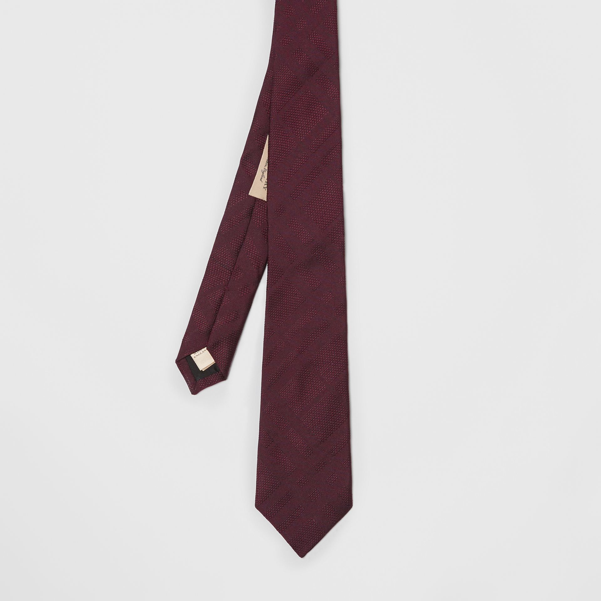 Modern Cut Check Silk Tie in Deep Claret - Men | Burberry United Kingdom - gallery image 4