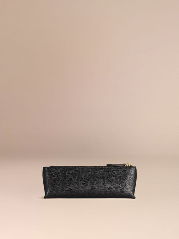 Black Small Grainy Leather Digital Accessory Pouch Black - cell image 3