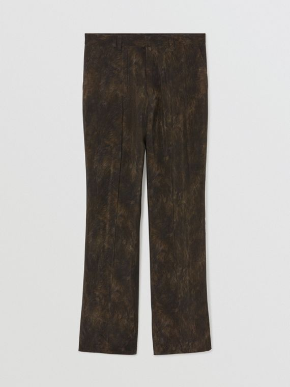 Relaxed Fit Animal Print Trousers in Brown