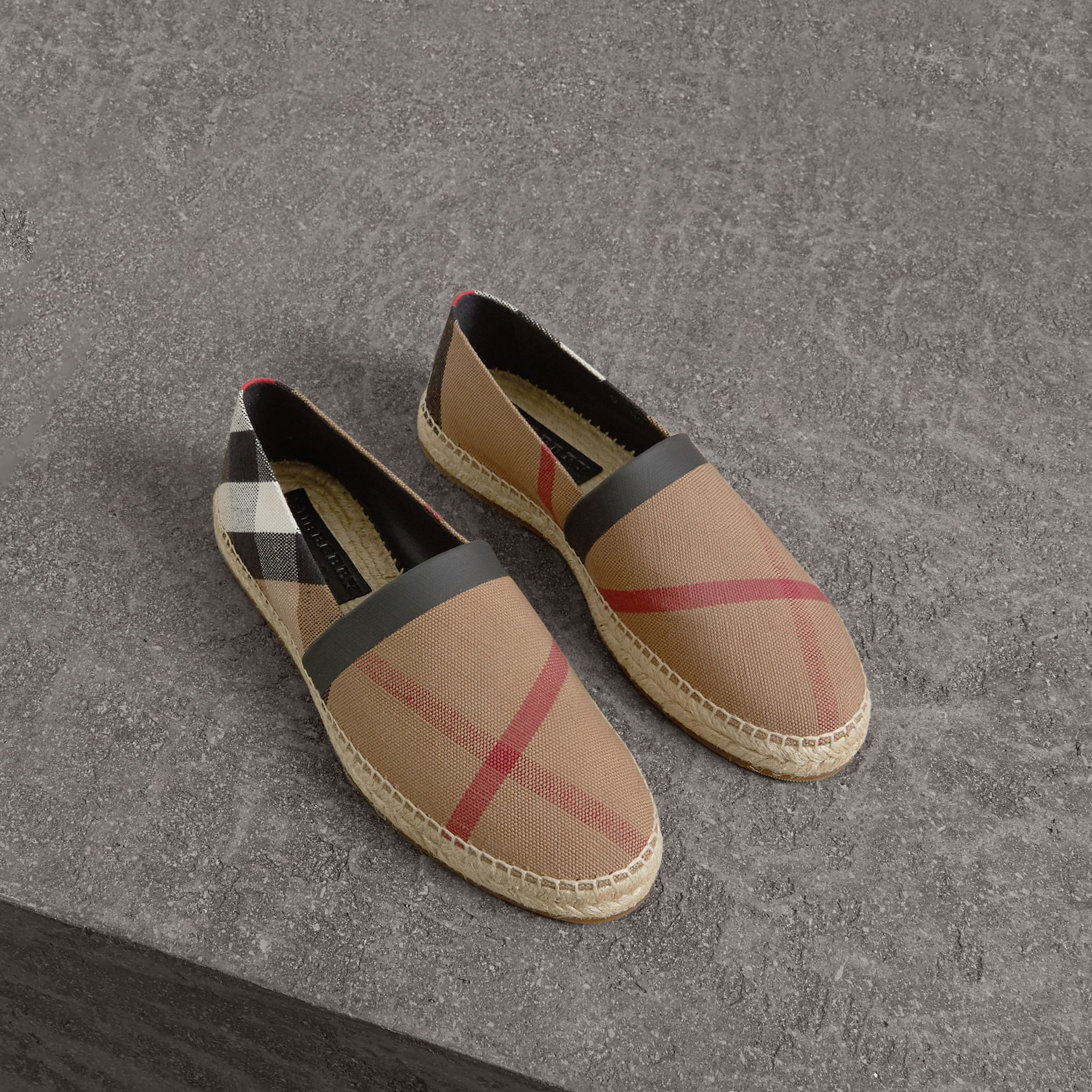Check Cotton Canvas Seam-sealed Espadrilles in Classic - Men | Burberry Hong Kong - gallery image 0
