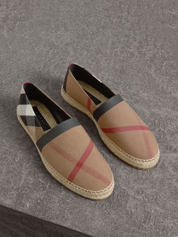 Check Cotton Canvas Seam-sealed Espadrilles in Classic