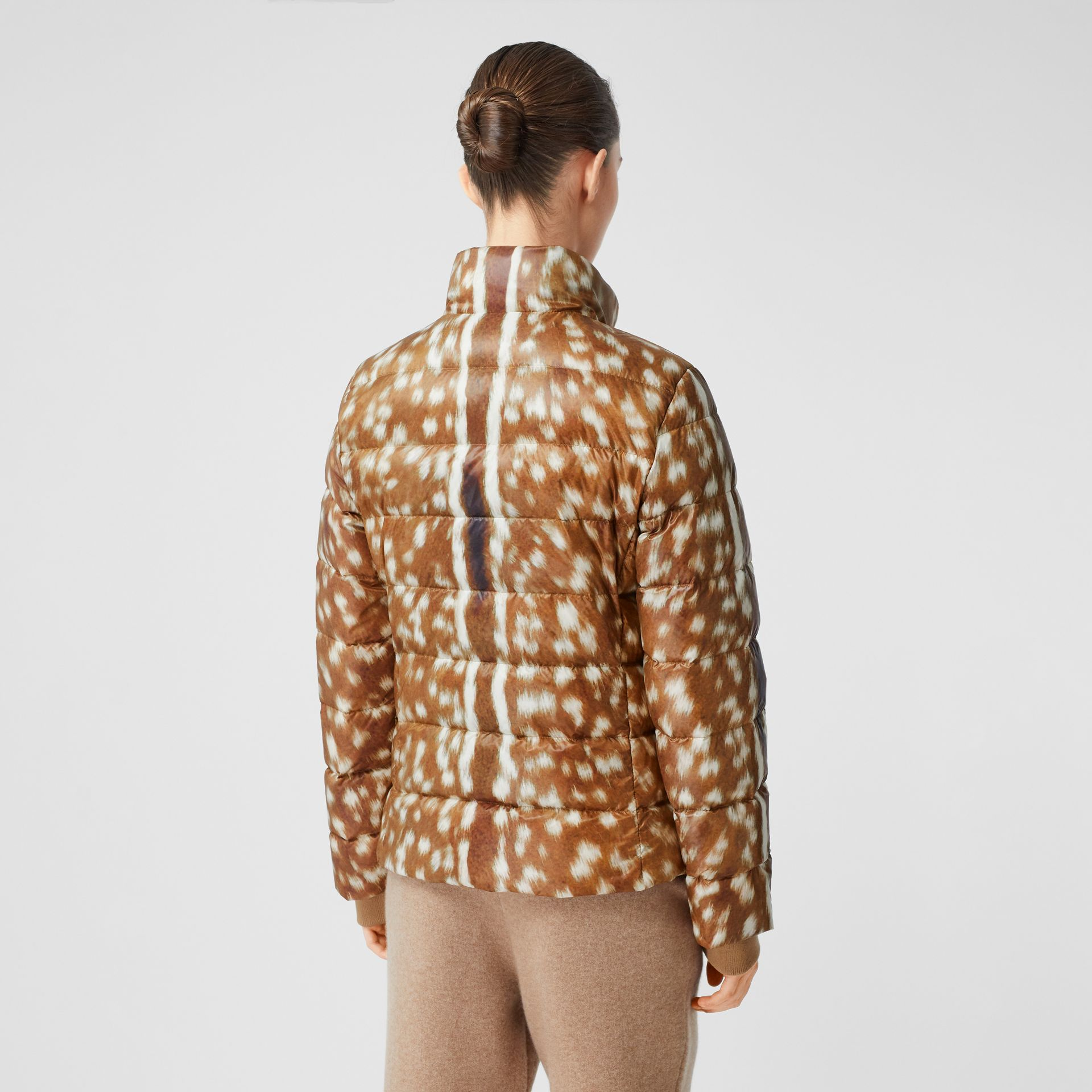 Deer Print Puffer Jacket in Honey - Women | Burberry United Kingdom - gallery image 2