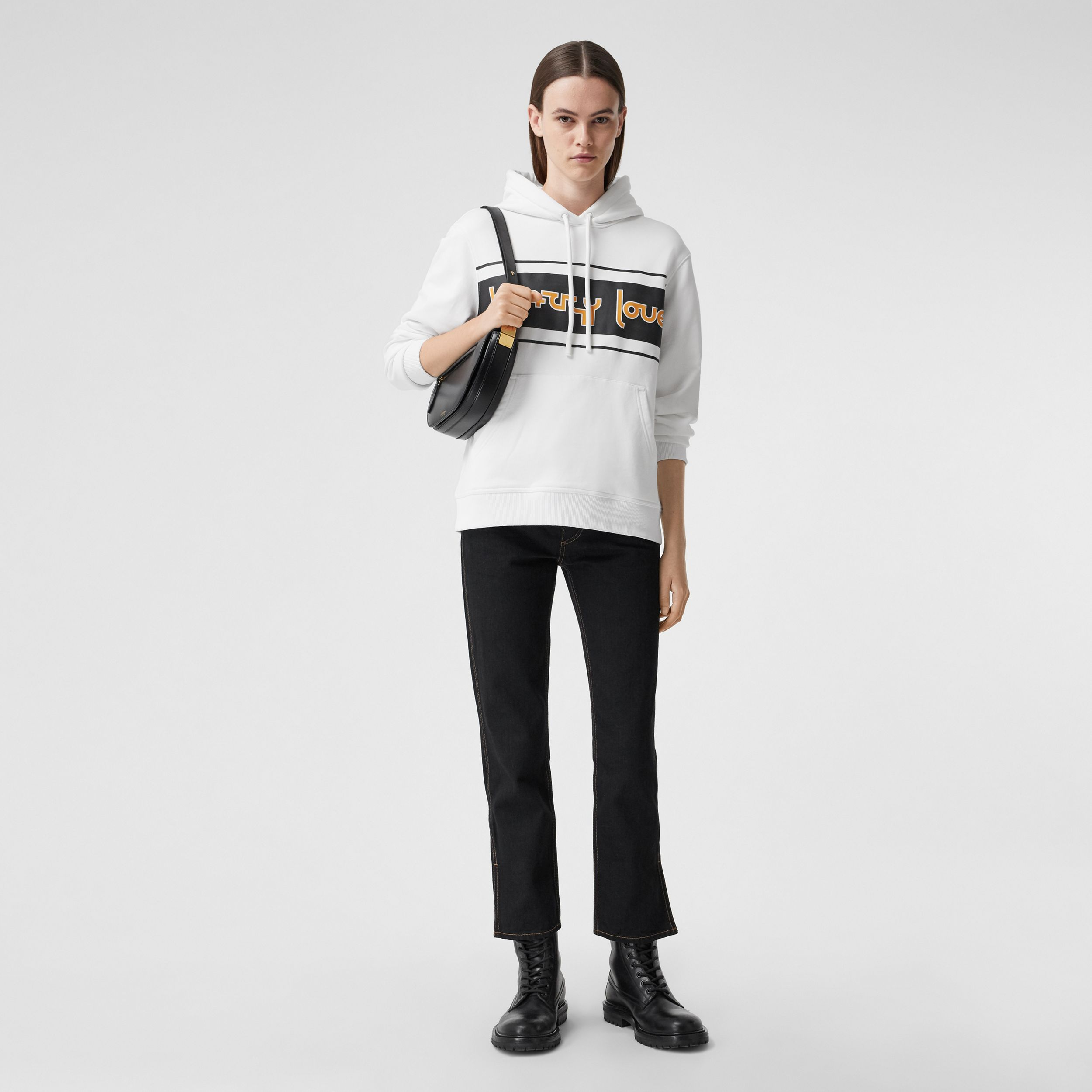 Slogan Print Cotton Oversized Hoodie in White - Women | Burberry Canada - 1